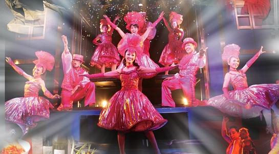 銀座8丁目金春通りのショーレストラン「笑座こんぱる」ニューハーフ&美男美女ダンサーによる豪華で楽しいショータイム